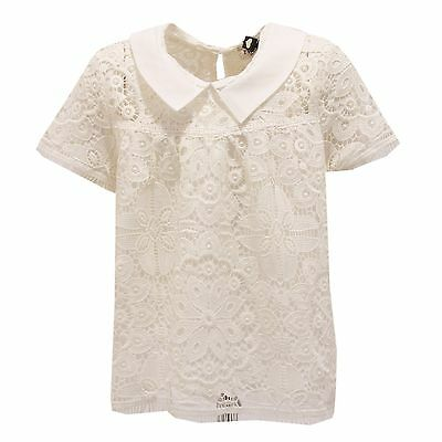 0832T camicia blusa bimba TWIN-SET pizzo avorio shirt kid