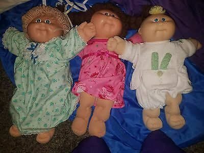 1983 84 85 cabbage patch doll lot of 3 blonde brown baby rare green eyes blue