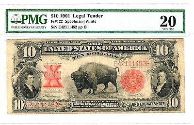 "1901 $10 Legal Tender ""Bison"" Note, Fr. 122, Very Fine (VF-20) Condition (PMG)"