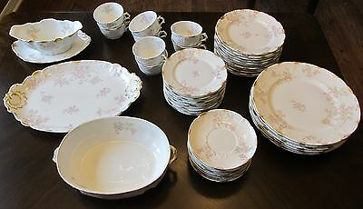 Pink Floral Limoges China 50 Pieces!