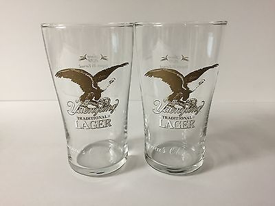 Yuengling Lager 16 oz Beer Glass ~ Set of TWO (2) English Pub Glasses ~ NEW