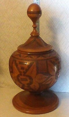 Carved Wooden Container Handmade Unique Big Humidor Fitted Lid Vintage Browns