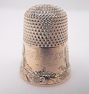 Antique 14K Rose Gold Thimble w/ Hand Engraved Band  AMERICAN  circa 1874