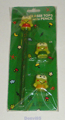 VINTAGE! 1991 Sanrio KEROPPI Pencil and Eraser Tops Set! NEW!
