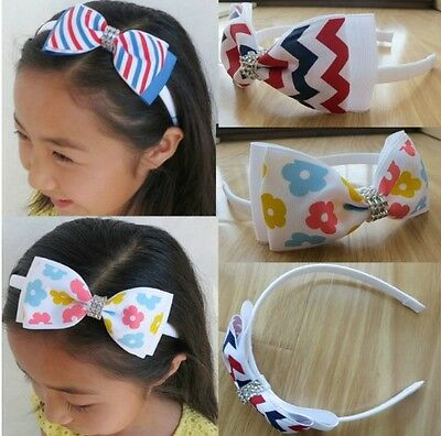 "16 BLESSING Boutique Good Girl Woven Headband 5"" Bowknot Hair Bow Clip 186 No."