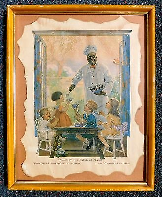 """1923 Framed Cream of Wheat Ad """"Passed by the Board of Censors""""  Edw. Brewer"""