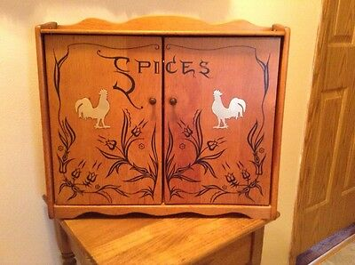 Vintage woooden counter or wall chicken rooster spice cabinet