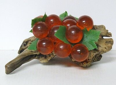 "Large Orange Red Lucite Grape Cluster Bunch Retro Vtg Mid Century 13-1/2"" Long"