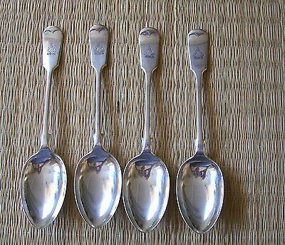 4 Mappin & Webb Silver Plated Soup Spoons - Crested - Fiddle Pattern - England