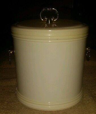 "Vintage Retro Kraftware ice bucket white vinyl with gold handles. 9"" x 7"""
