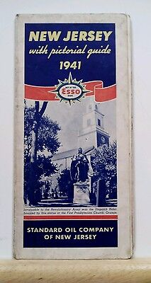 Vintage 1941 New Jersey ESSO Map & Pictorial Guide