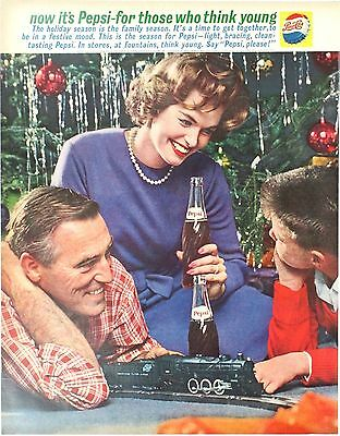 1961 Pepsi Cola print ad- American Flyer electric trains under Christmas Tree