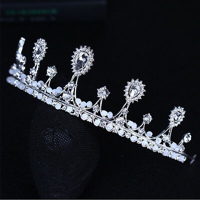 5cm High Drip Crystal Opal Beads Wedding Bridal Party Pageant Prom Tiara Crown