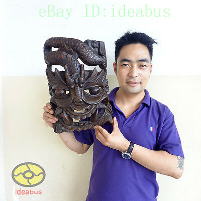 Chinese Folk Art Wood Hand Carved NUO MASK Walldecor Art - DRAGON KING Deity