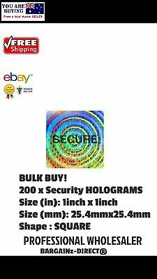 SECURE HOLOGRAMS STICKERS 200 x TAMPER PROOF SEALED PROTECTION  SECURITY LABELS