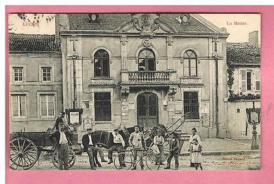 Cpa  -  Lucy   -  54 -  La Mairie -  Attelage
