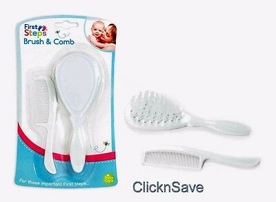 New First Steps Baby Hair Brush & Comb Set in White Soft & Gentle For Baby