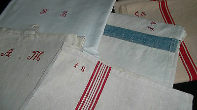 French antique unused linen kitchen towels runner hd embroi mono MG IS CA AM FB