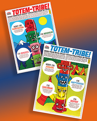 R&l Totem Tribe ~ 2 X Full Size Panel Repros! From Rare 1972 Cereal Toy Boxes