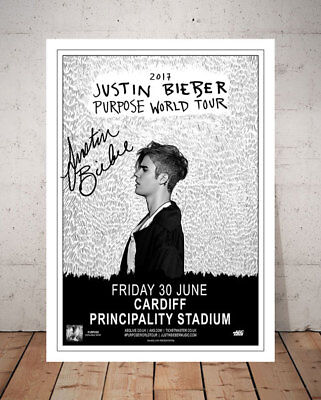 Justin Bieber Purpose 2017 Cardiff Concert Flyer Autographed Signed Photo Print