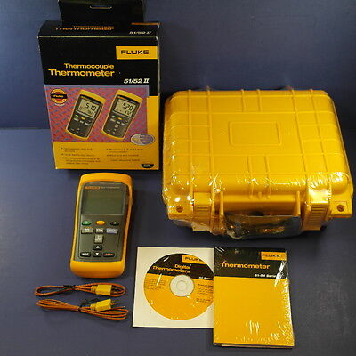New Fluke 52 II Thermometerm with EXTRAS, New Waterproof Hard Case