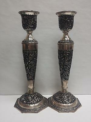 Antique Persian Handmade Silver 900 Solid Candle Holder Esfahan, Jozani