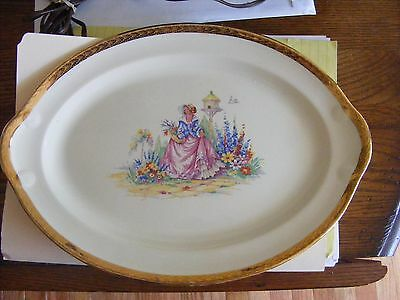 """Mint Taylor Smith & Taylor Oval Serving Platter, 13.5"""" x 9 1/2"""" Woman in Garden"""