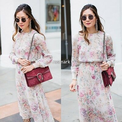 Zara Pink Floral Printed Flowing Dress Size XS, S, M, L, XL
