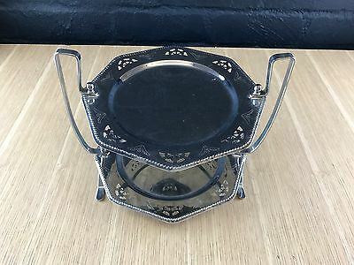 Vintage Art Deco Two Tier Silver Plated Pierced Ornate Cake Stand