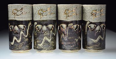 Somayaki-Somaware Pottery Double Wall Crackle Gold Horses 4 Vintage Tumblers 6+""