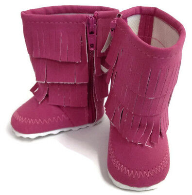 Dark Pink Fringed Boots Shoes made for 18 inch American Girl Doll Clothes
