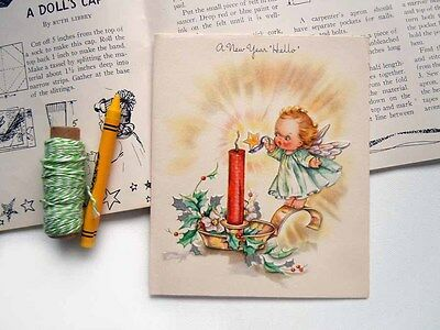 Vintage UNUSED Christmas Greeting Card Baby Angel Lighting a Red Candle