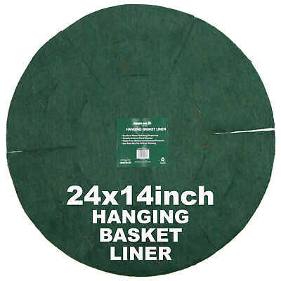 "24 X Hanging Basket Planter Liner 14"" Inch Natural Fibre Green Jem Hbbl14"