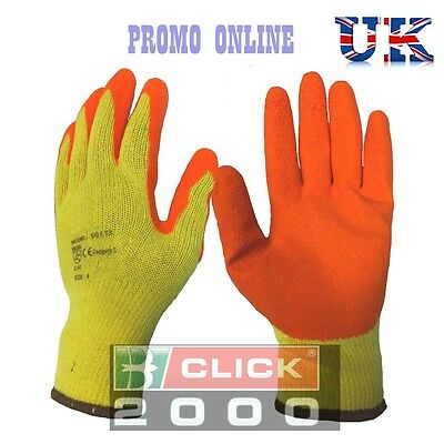 10 Pairs Click 2000 Latex Coated Orange Rubber Safety Work Gloves Mens Builders