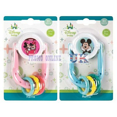 Disney Winnie Mickey Minnie Mouse Rattle Toy Teether New Born Baby 0 Months+