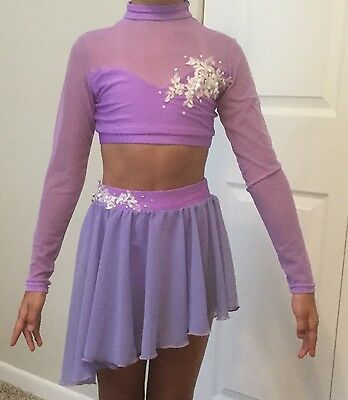 Dance Costume Medium Child Purple Dress Lyrical Contemporary Solo Competition