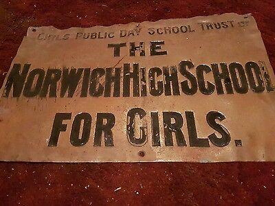 Antique brass sign:' The Norwich High School For Girls'