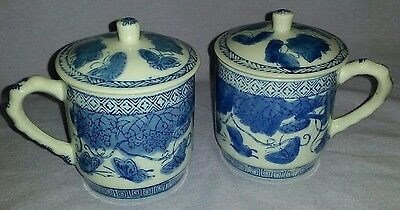 2 Antique Signed Chinese Covered Blue & White Tea Cups With Butterflies