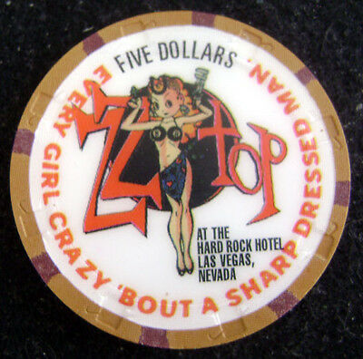 Hard Rock Hotel Casino Las Vegas 1996 $5 ZZ Top Casino Chip Mint/UNC