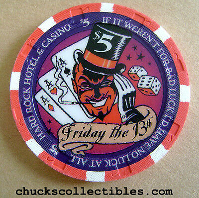 Hard Rock Hotel Casino Las Vegas 2004 $5 Friday the 13th Casino Chip Rare Mint