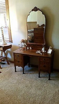 Antique Vanity, Chest of Drawers, Head-,Foot-board