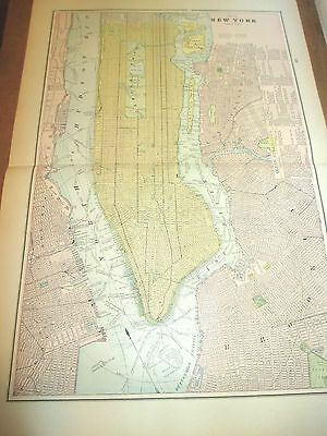 Antique 1896 Colored City Map of New York City & Reverse is Boston & Brooklyn
