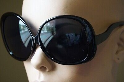 cd8cdd7c4c8 Retro Jackie O Oversized Huge Black Round Oval Butterfly Glossy Sunglasses  1033
