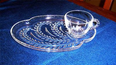 6 Sets Federal Glass HOMESTEAD Snack Trays & Cups 12 Pieces Wheat Vine Design
