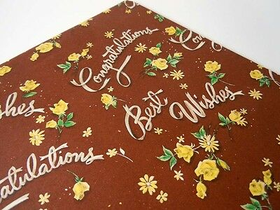Vintage 1960 Bridal Shower Wedding Wrapping Paper Brown Yellow Roses Gift Wrap