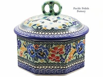 "Polish Pottery Unikat Kitchen ""Pretzel"" Cake Box (10-2707) PANSY Poland Canister"