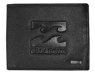 Brand New In Gift Box Billabong Wave Mens Boys Black Leather Tri-Fold Wallet