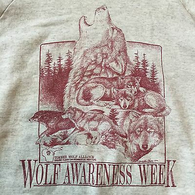 Vintage 90s FOTL Sweatshirt XXL Crewneck Shirt Timber Wolf Howl Wolves Gray 2X