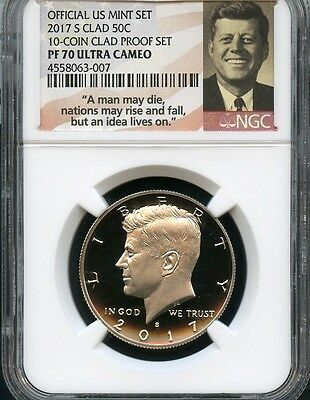 2017 S Cald Kennedy 50c From 10-coin Clad Proof Set NGC PF70 U.C. (N.S)
