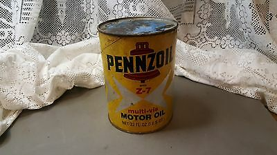 Vintage PENNZOIL With Z-7 Motor Oil 1 Quart Can empty